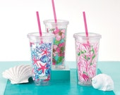 SALE!  Lilly Pulitzer Personalized Monogram Tumbler Cup w Straw Booze Cruise New Patterns Jellies Be Jammin Big Flirt She Shells Pink Colony