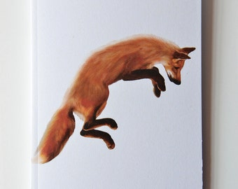 Red Fox Notebook - Woodland Animal - Fox Jumps - A6 - Eco and Recycled - Compact Notebook