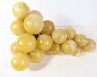 Vintage Alabaster Stone Grape Cluster - Pale Yellow Marble Grape