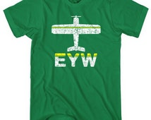Fly Key West EYW Airport T-shirt - Men and Unisex - XS S M L XL 2x 3x 4x - Key West Tee - Florida Keys - 2 Colors