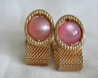 Swank French Cuff Links with Pink Stone