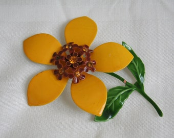 Mustard Yellow and Brown Vintage Enamel Brooch