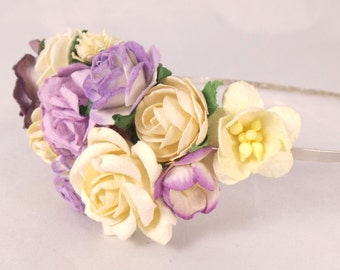 Floral fascinator with Lavender and Ivory Flowers Fascinator Vintage Wedding Party Bridal Accessory Bridesmaid statement
