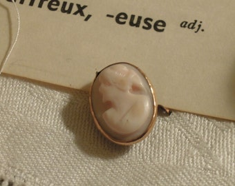 Vintage Cameo / Set in Gold / Antique Cameo / Part of Cameo Ring /  Italian Hand Carved Cameo
