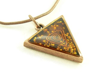 Orgone Energy Triangle Pendant in Copper with Orange Carnelian - Unisex Necklace - Men's Necklace - Energy Jewelry - Artisan Jewelry