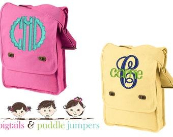 Monogram Messenger Bag, Monogrammed Crossbody Bag, Messenger Bag, Personalized Messenger Bag, Canvas Messenger Bag, Field Bag