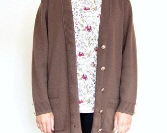 Vintage Women's Brown Cardigan Sweater Long Sleeve Brown Cardigan Open Knit Sweater in M/L