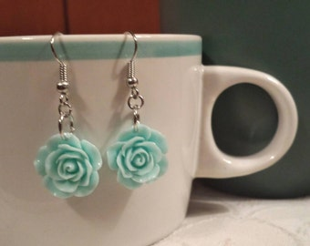 Pastel Blue Rose Dangle Earrings