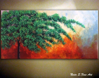 "Abstract Tree Painting on Stretched Canvas, Red Green Landscape Painting, Modern Large Artwork, Home & Office Decor  24"" x 48"" by Nata S."