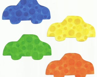 Set of 4 Blue, Green, Orange and Yellow Cars Fabric Iron on Appliques ~ No Sew