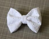 White Eyelet Fabric Hair Bow, White Hair Bow, Little Girl White Hair Bow