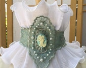 Women's Steampunk seafoam green faux cameo ruffle collar