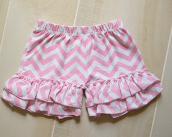 Light Pink Chevron Ruffle Shorts