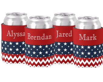 Labor Day Family Reunion USA Personalized Can Monogrammed Koolie Coozie Beverage Holder