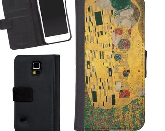 The Kiss Gustav Klimt Wallet Phone Case iphone 5/5s iPhone 6 Case Samsung Galaxy s4 s5  Vintage Rose
