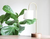 Arc Lamp- Table Lamp, Modern Wood and Brass Lamp