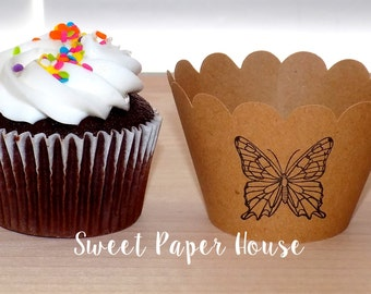24 Cupcake Wrappers - BUTTERFLY - Kraft - Scallop - Hand Stamped (Cardstock, Baby Shower, Wedding, Party, Birthday, Dessert, Wraps, Fun)