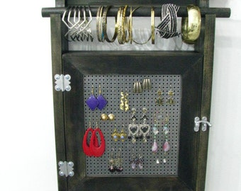 Hanging Jewelry Box Organizer with two layers of storage