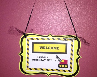 Cute Construction Party Sign