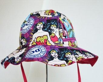 Baby Sun Hat, Wonder Woman Hat, Summer Hat, Toddler Girl Hat, Newborn Hat, Cotton Sun Hat, Floppy Beach Hat, Baby Gift, Made to Order