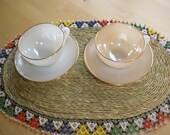 Arcopal France glass, 2 cups and saucers. Coffee, tea or hot chocolate.