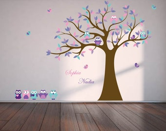 Kids wall decal for nursery - Vinyl tree decal - Owl tree decal - name decal - 5 Free owls