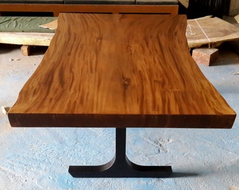 Live Edge Dining Table Acacia Wood Live Edge Reclaimed Solid Slab In a Lacquer Finish And Custom T-shape Solid Back Matte Steel Legs