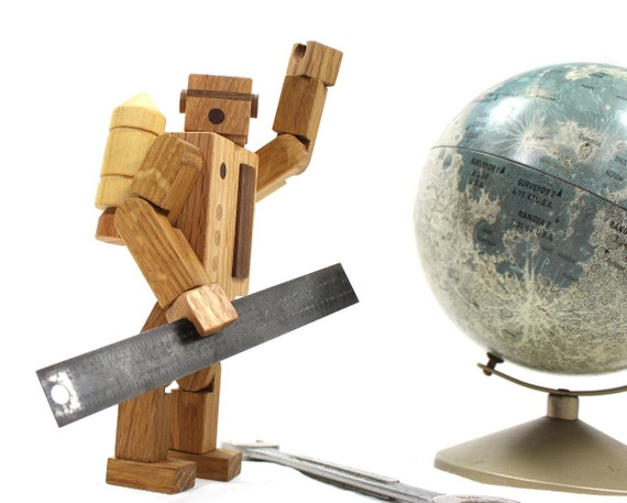 Wooden Robot Toy Action Figure With Jet Pack