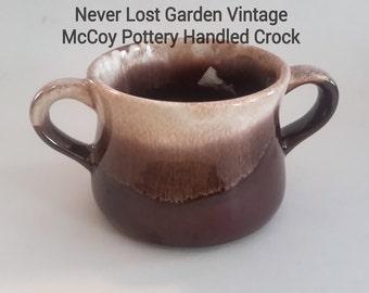 McCoy Brown Drip Pottery Handled Crock Vintage