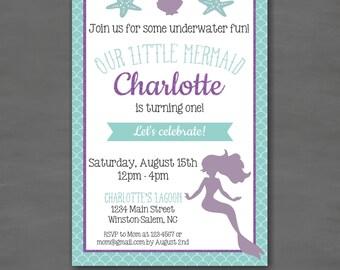 Mermaid Birthday Party Invitation--Custom Printable; Under the Sea Mermaid Purple Turquoise Glitter Sparkle
