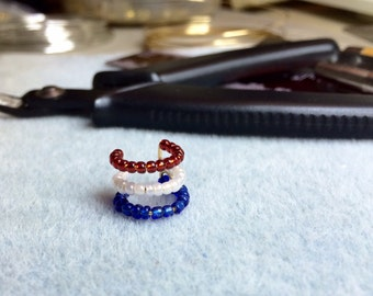 Patriotic 4th of July, Red, White and Blue beaded Ear Cuff