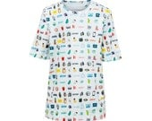 SUMMER SALE 50% !  Organic cotton T-shirt with colorful icons pattern