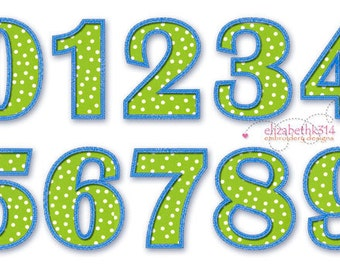 """SIZES: 3"""" 4"""" 5"""" 6"""" - Instant Download - NUMBERS 404 - Applique numbers -  Applique design numbers 0-9"""
