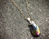 Rainbow Titanium Quartz Wire Wrapped Crystal Necklace