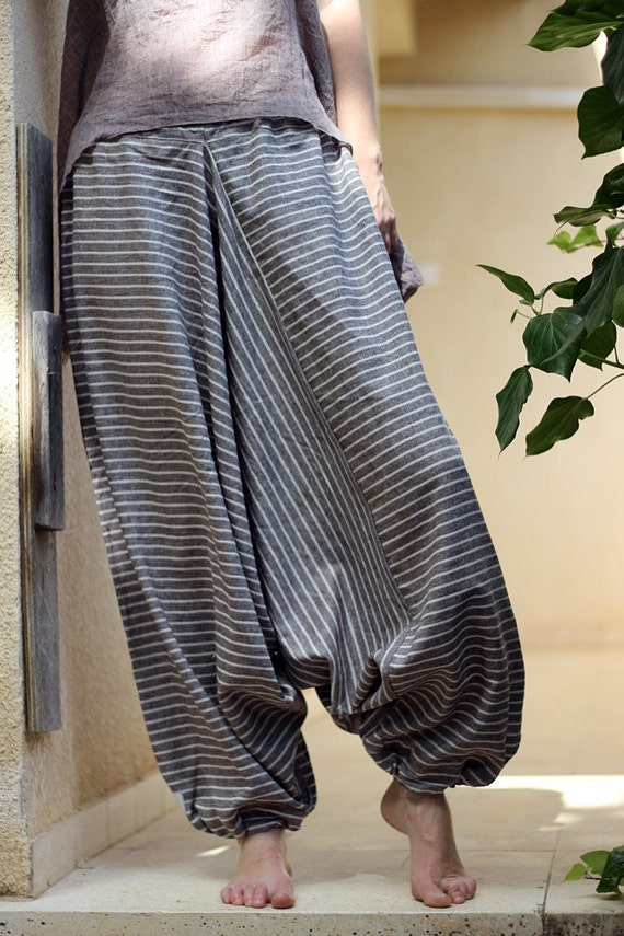 Striped harem pants cotton yoga pants Men's Women's