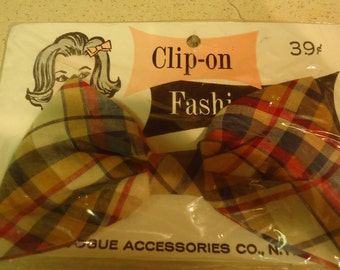 Vogue Plaid Clip on Fashion Hair Bow- Clip NOS