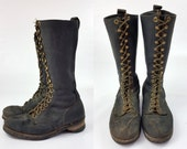 1960s Lineman Boots Herman Highliner Smokejumper Black Leather Work Boots, Mens 8.5