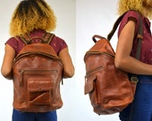 Thick Tanned Bridle Leather Brown Bohemian Leather Backpack Daypack