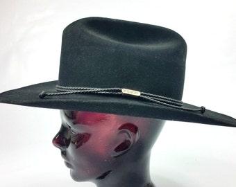 Vintage Stetson Black Wool Cowboy Hat - 4X Beaver