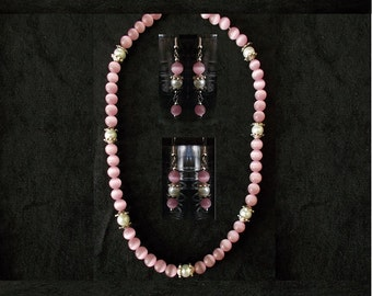 Pink Jewelry Set, Cat's Eye Pearl & Silver Accent Necklace w/Earrings, Glass Bead Pearl Necklace Set, Handmade Simple Wedding Jewelry