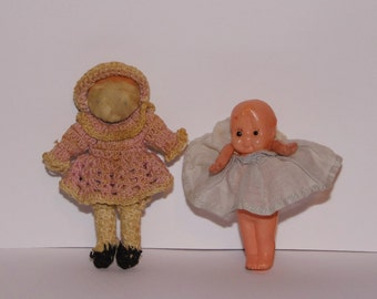 2 very cute and old small dolls - vintage little collectibles