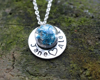 Personalized Name Pendant,Name Washer Necklace , Aqua Dried Flowers Pendant,Engraved Necklace,Friendship Necklace, Couples Jewelry