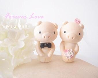 Custom Wedding Cake Toppers - Cute Piggy