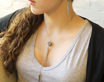 "Edgy -Silver or Gold ""Pyrite with Spikes""- Necklace"