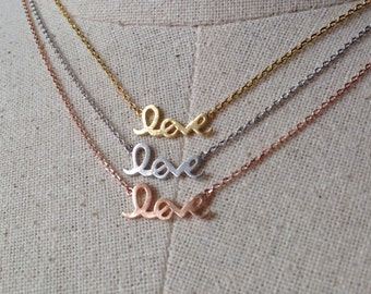 Love Necklace, 18k Gold/Rose Gold/Silver, Dainty Love Necklace