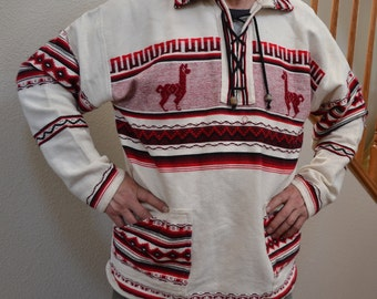 Vintage cotton hand woven tribal  men embroidered shirt hand made ethnic   80s  unisex long Lama robe  Size XL. Made in Peru Dude Stuff