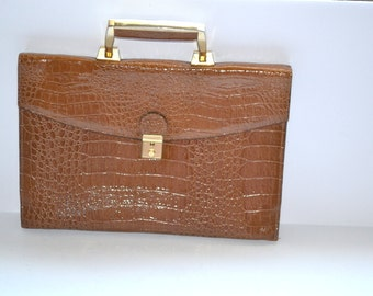 70s  honey tan embossed leather portfolio  briefcase i pad case Gift for him or her