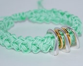 Handmade Cord Bracelet, Stackable Bracelet, Nylon Cord Bracelet, Crocheted Bracelet, Rope Bracelet, Crocheted Bracelet, Peach, Pale Green