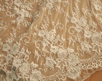 3 Yards Chantilly Lace Fabric, Alencon Lace Fabric, Bridal Wedding Lace Fabric, Eyelash French Lace Fabric