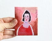 Original acrylic painting on tiny canvas, female portrait, 8 x 10 cm, woman, red, small fine art